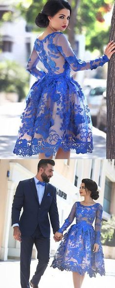 Unique Ball Gown Appliques Knee-Length Long Sleeve A-Line Tulle Royal Blue Prom Presses New Sweet 16 Gown