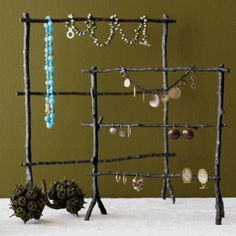 Another nice freestanding design. Twig Jewelry Stand by Roost Diy Jewelry Stand, Jewelry Show, Jewelry Tree, Jewelry Holder, Necklace Holder, Craft Font, I Spy Diy, Craft Show Displays, Jewellery Display