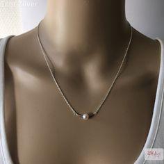 Zilveren strakke staaf parel kettinghanger - ZilverVoorJou Echt 925 zilveren sieraden