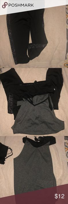 Danskin workout capris and Champion tank combo Two separate items selling as one. Gently worn the Capri pants have a design of white and gray dots on the sides. Workout tank has an attached sports bra Danskin Other
