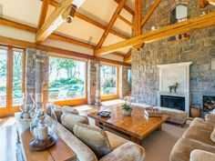 The home was custom-built and comes with seven fireplaces.