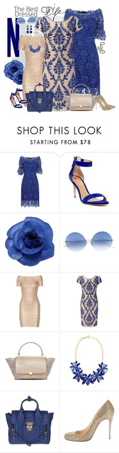 """""""PARTY DRESSES X3"""" by polyvore-suzyq ❤ liked on Polyvore featuring Elaine Turner, Chanel, Courrèges, Hervé Léger, Adrianna Papell, CÉLINE, Kate Spade, 3.1 Phillip Lim, Christian Louboutin and New Directions"""