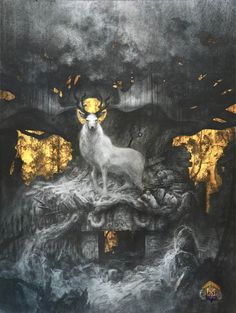 "[Yoann Lossel] ""The Forgotten Gods"" - Graphite, Gold leaf and hydrangea petals - 17,3/23""   ""The Forgotten Gods"" - Graphite, feuilles d'or et pétales d'hortensias - 44/58cm"