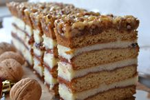 miodownik z orzechami Polish Recipes, Polish Food, Honey Cake, Russian Recipes, Chipotle, Vanilla Cake, Sweet Recipes, Tiramisu, Food Porn