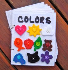 COLORS toddler quiet book/felt book/busy book with BUTTONS - New Reduced Price
