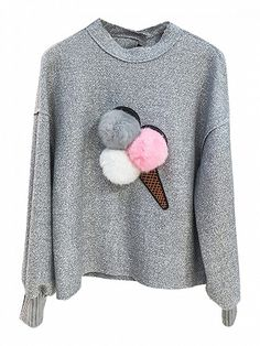 Jaycargogo Womens Crewneck Pompom Sweater Knitted Ball Dots Loose Pullover