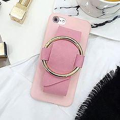 9a60500751e441   3.27 For iPhone 6 Plus   6s Plus Metal Ring Hand-Strap Soft TPU Protective  Cover Case(Pink)
