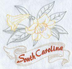 South Carolina - Carolina Jessamine (Redwork)