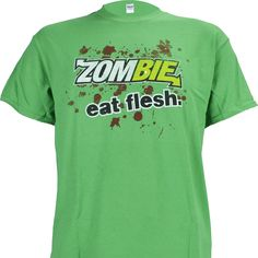 Subway Parody Zombie Eat Flesh on Green Shirt