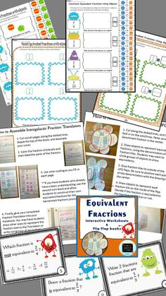 A complete introduction to equivalent fractions, includes Interactive mini-books, interactive printables, and Task cards. #fractions #interactivenotebook $