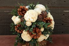 Rustic Winter Sola Flower Wedding Bouquet by SmokyMtnWoodcrafts
