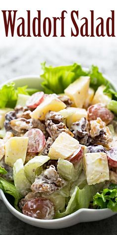 Classic Waldorf Salad! Perfect for the holidays. With apples, walnuts, celery, grapes, and mayonnaise.