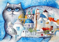 Santorini Chat by Oxana Zaika