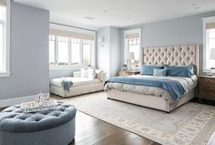 Blue Master Bedroom. Brandon Architects, Inc.
