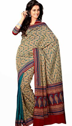 Buy Latest Traditional Ethnic Wear Beige Row Silk Printed Saree at lowest price with Efello.com.my.