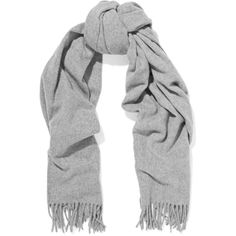 Acne Studios Canada fringed wool scarf (€160) ❤ liked on Polyvore featuring accessories, scarves, grey, grey shawl, woolen shawl, grey scarves, fringe scarves and wool scarves
