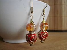 Handmade Red and Gold Dangle Earrings Red by SteadyGirlStudios Thing 1, Holiday Party Outfit, Red Earrings, Faceted Crystal, Asian Style, Gold Beads, Dangles, Sparkle, Crystals