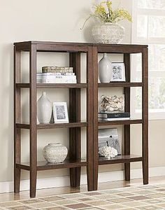 Deagan Pier Dark Brown - Cabinet - Signature Design by Ashley - image 3 of 3 Contemporary Tv Stands, Contemporary Design, Wolf Furniture, Furniture Design, Open Bookcase, Bookshelves, Dark Brown Cabinets, Coffee And End Tables, Retro
