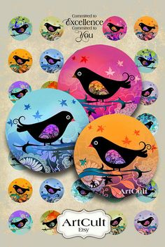BIRDIE - Digital Collage Sheet 1 inch size / 1.5 inch size circle images for pendants, bottlecaps, paper craft by ArtCult