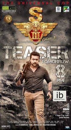 Singam 3 teaser release tomorrow poster http://idlebrain.com/news/today/singam3-release-poster.html