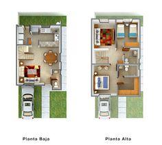 Planos de Casas y Plantas Arquitectónicas de Casas y Departamentos: Plantas arquitectónicas de casa dos pisos con bella distribución