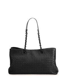34840c7c6 Intrecciato Double Chain Tote Bag, Black by Bottega Veneta at Neiman  Marcus. Black Tote