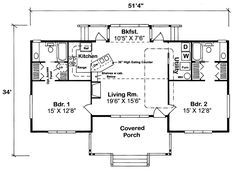 First Floor Plan of Bungalow Cottage Country House Plan 32323