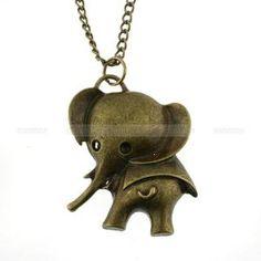 Retro necklace elephant necklace rocker necklace by mosnos on Etsy
