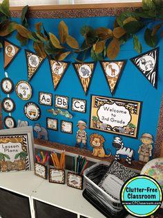 Photos, ideas & printable classroom decorations to help teachers plan & create an inviting Jungle Safari themed classroom on a budget. Jungle Theme Classroom, Classroom Decor Themes, Classroom Setting, Classroom Ideas, Future Classroom, Classroom Organization, Classroom Walls, Classroom Design, Classroom Management