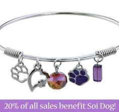 "Greater Good has a great range of merchandise, such as this Purple Paw ""So in Love"" charm bracelet, which is the ideal gift for the animal lover in your life. By following this link to purchase, Soi Dog will receive 20% of your total spend at the Greater Good online store: http://shop2give.us/1ib23he"