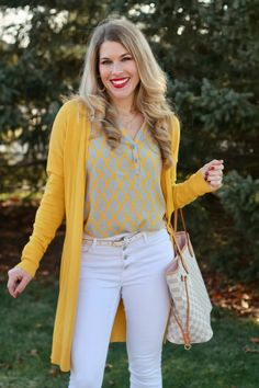 aventura bess top, yellow grey blouse, mustard cardigan, white jeans, vince camuto booties, LV azure neverfull