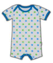 Zomers Kruippakje van Claesen's met groene en blauwe sterretjes. Nu bij www.ukkiesundies.be