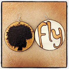 "Pick Your Afro Earrings with ""FLY"" graphic back"