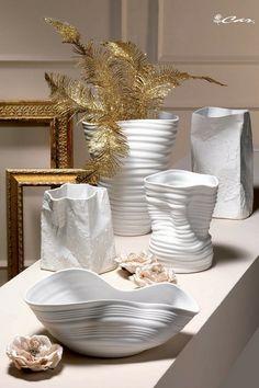 Vasi e centrotavola in porcellana bianca