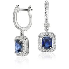 Blue Nile Radiant Sapphire and Diamond Dangle Earrings ($1,575) ❤ liked on Polyvore featuring jewelry, earrings, серьги, 14k diamond earrings, sapphire dangle earrings, sapphire jewelry, long diamond earrings and drop earrings
