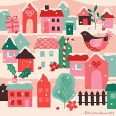 Art, design and illustration by Victoria Johnson. Christmas Mood, Christmas Images, Pink Christmas, Christmas Design, All Things Christmas, Christmas Themes, Vintage Christmas, Christmas Decorations, Christmas Patterns