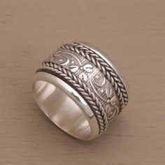 Wide Sterling Silver Spinner Ring with Floral Motifs - Floral Focus | NOVICA