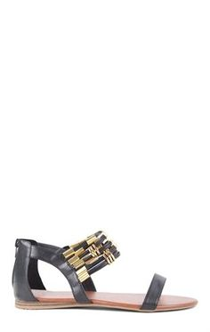 Deb Shops Flat Sandal with Black Straps and Gold Metal Details $18.67