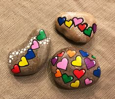 Heart love painted rocks. Kindness rocks project. Valentine's Day Painted Rocks.