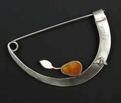 Pear-a Bee-La by Sarah J.G. Wauzynski. Brooch in sterling silver, egg temper, and found sterling silver bee figure. 2 1/4 x 1 1/2