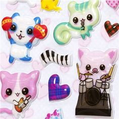 kawaii animals & musical instruments sponge stickers