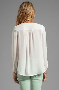 Joie Matte Silk Frenchie B Blouse in Porcelain | REVOLVE
