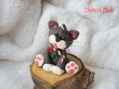 Christmas Cat figurine Christmas cute kitty by MoirasStudio