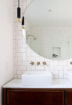 Amazing Mirror Bathroom Tiles For Bathroom Looks Luxurious 230 Amazing Mirror Bathroom Tiles For Bathroom Looks Luxurious design ideas and photos Bathroom Renos, Bathroom Interior, Modern Bathroom, Mirror Bathroom, White Bathroom, Small Bathrooms, Country Bathrooms, Bathroom Ideas, Remodel Bathroom