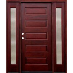 Pacific Entries 70 in. x 80 in. 5-Panel Stained Mahogany Wood Prehung Front Door w/ 6 in. Wall Series and 14 in. Seedy Sidelites, Medium Red Mahogany