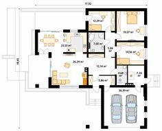 Aksamit 4 projekt domu - Jesteśmy AUTOREM - DOMY w Stylu Home Building Design, Home Design Plans, Building A House, Beautiful House Plans, My House Plans, Bungalow House Design, Cool House Designs, Home Fashion, Planer
