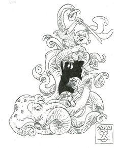 Usagi Yojimbo by Stan Sakai * Superhero Characters, Comic Book Characters, Comic Books, Disney Characters, Akira, Usagi Yojimbo, Comic Book Artists, Drawing For Kids, Cool Artwork