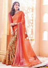 Party Wear Orange Georgette Printed Saree