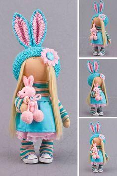 Banny doll Baby doll Textile doll Tilda doll Interior doll Art doll turquise doll soft doll Cloth doll Fabric doll