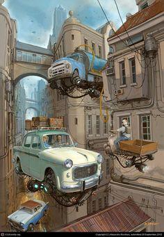 car illustration Flying Car Illustrations by Alejandro Burdisio Inspiration Grid Arte Sci Fi, Sci Fi Art, Ville Cyberpunk, Cyberpunk Kunst, Fantasy Landscape, Fantasy Art, Auto Illustration, Sci Fi Kunst, Art Science Fiction